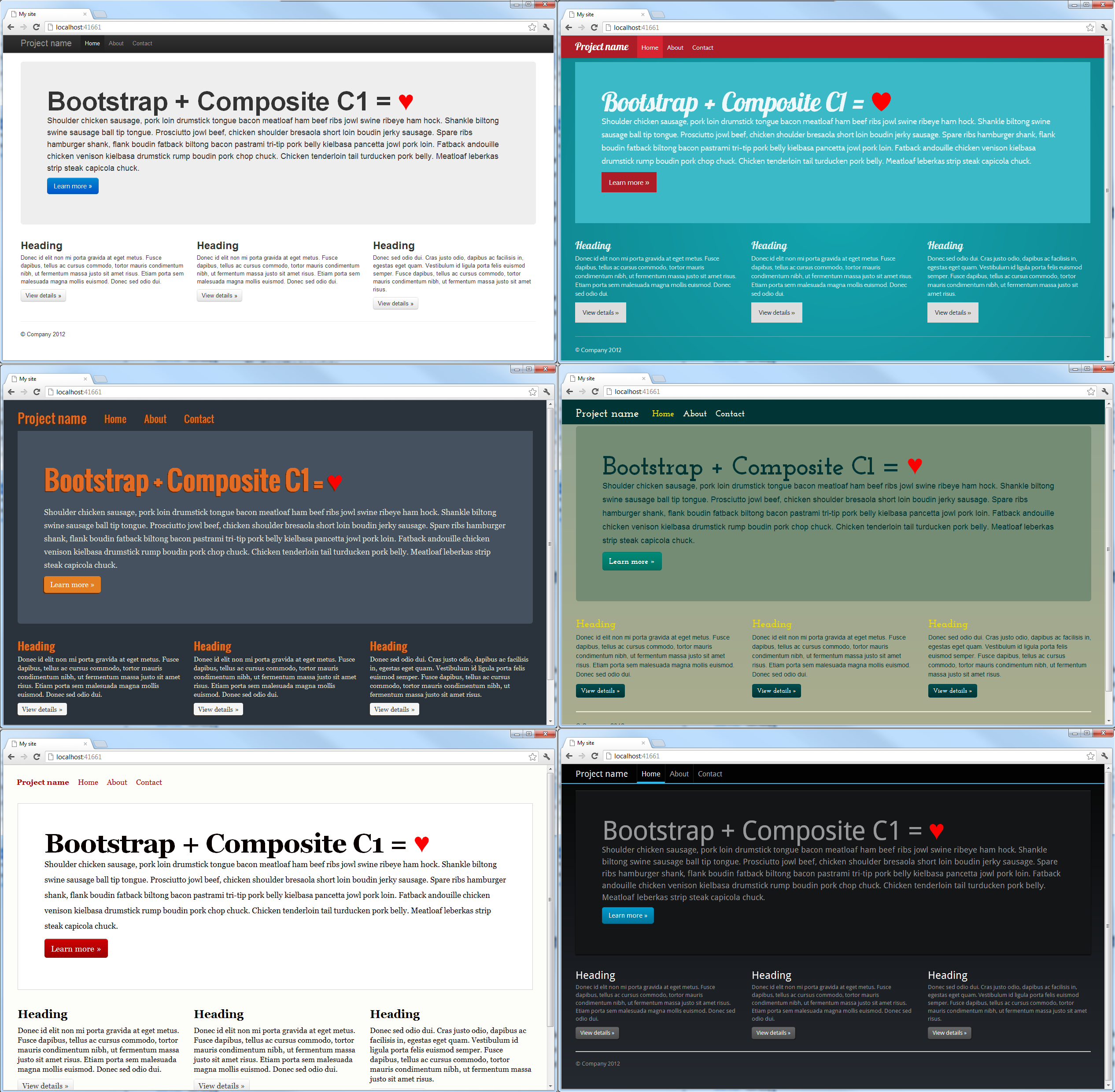 Say hello to twitter bootstrap 6 screenshots of a composite c1 site with different bootstrap themes falaconquin
